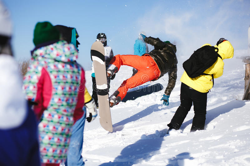 Download Jumping Snowboarder On Blue Sky Background Editorial Stock Image - Image: 83706024