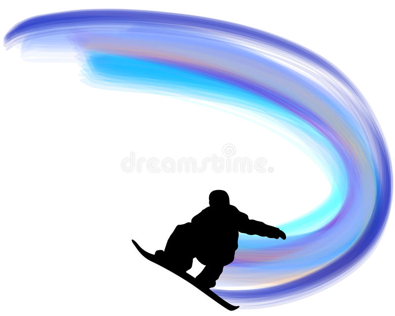 Jumping Snowboarder Silhouette vector illustration