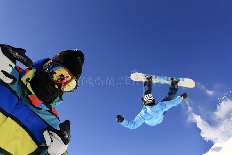 Download Jumping Snowboarders stock photo. Image of recreation - 23512360