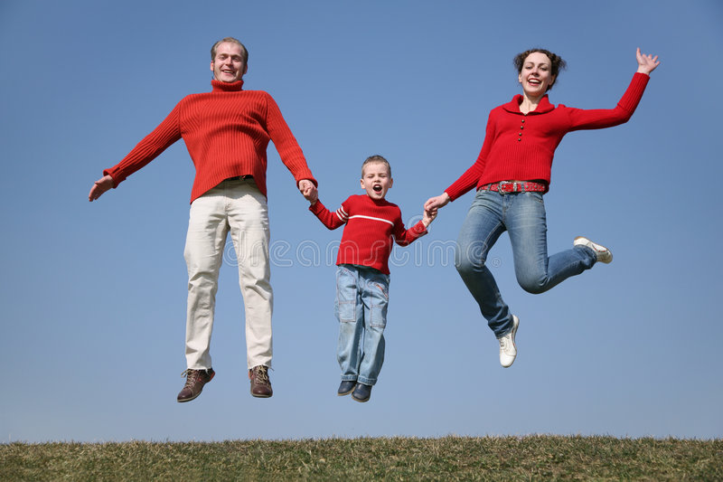 Jumping spring family stock image