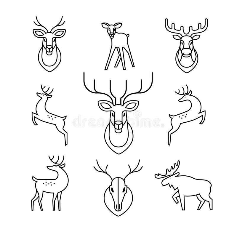 Jumping and standing deers, moose, antlers. And horns, stuffed deer heads and scull. Thin line art icons set. Modern black symbols isolated on white for vector illustration