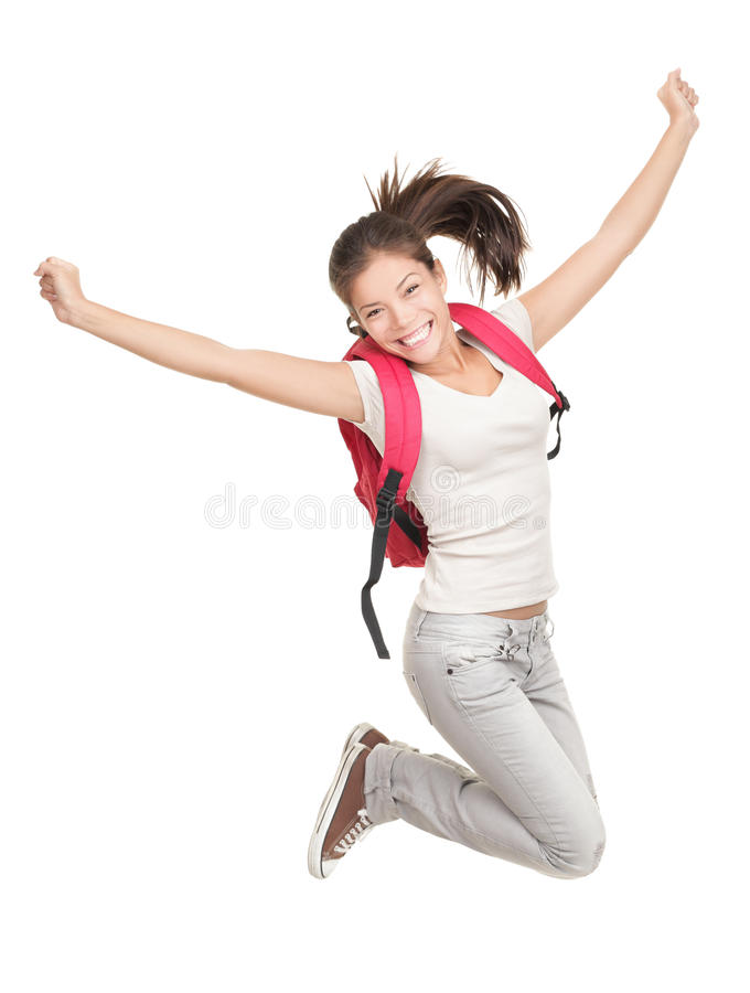 Jumping student. Jumping female college / university student isolated on white background. Young woman Asian Caucasian students