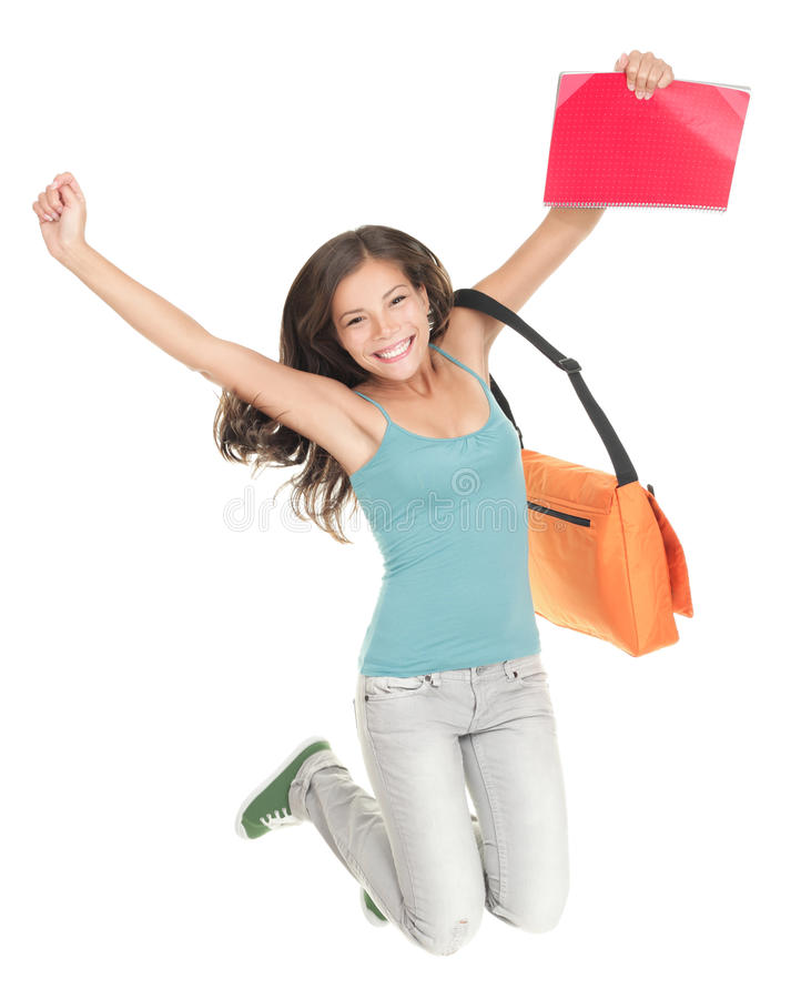 Download Jumping Success Student Isolated Royalty Free Stock Image - Image: 15298856
