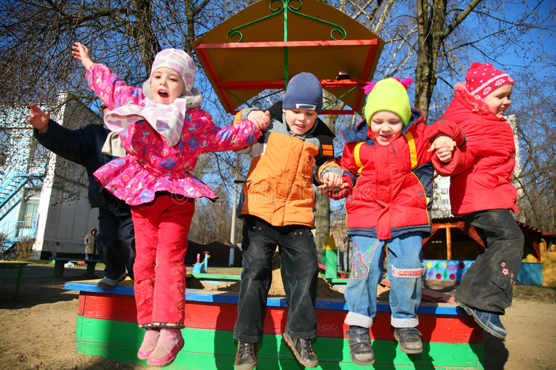 Download Jumping Team In Kindergarten Royalty Free Stock Photos - Image: 2243358
