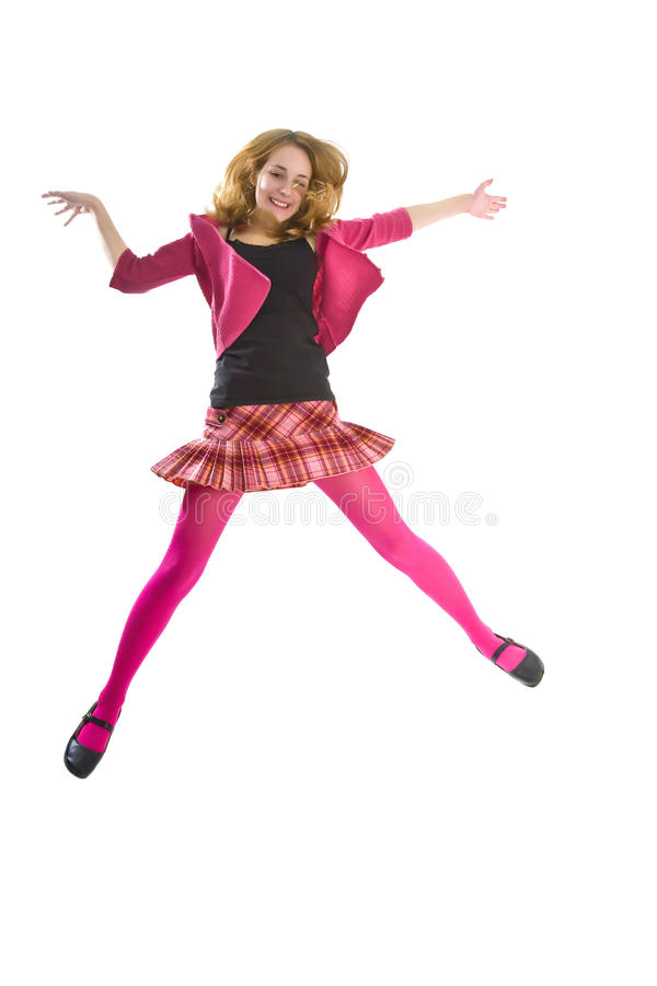 Jumping teenager girl royalty free stock photography
