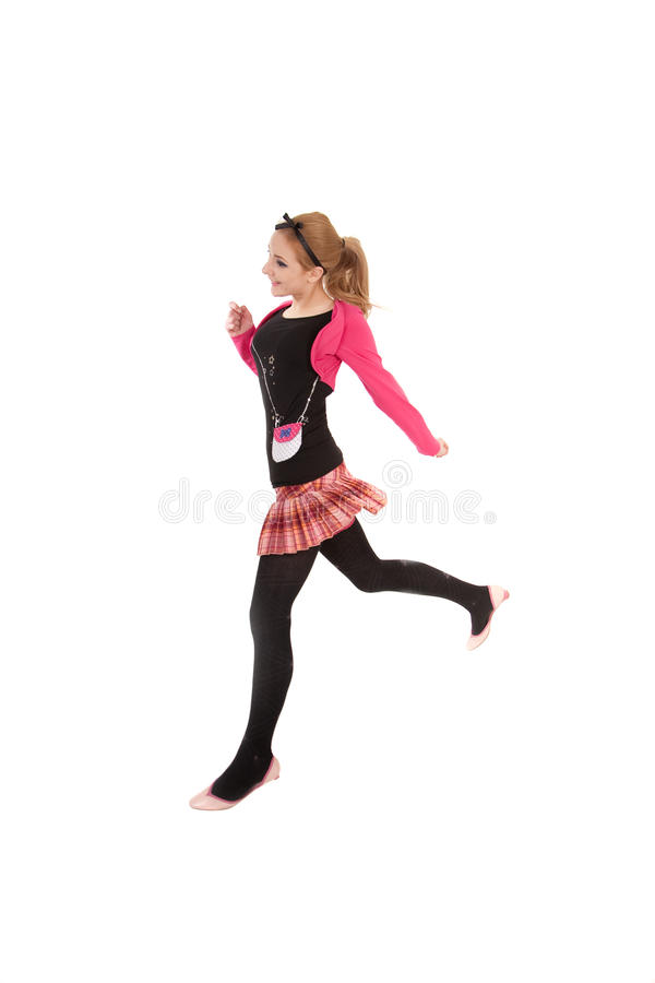 Jumping teenager girl royalty free stock images
