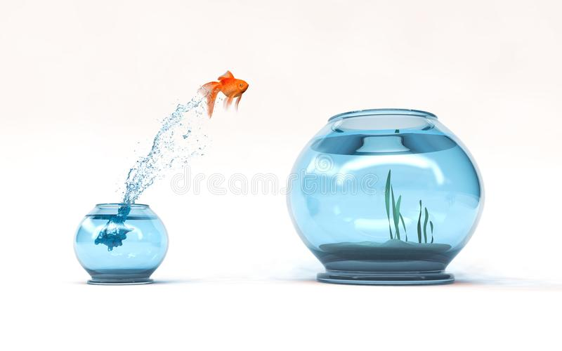 Jumping to the highest level. Goldfish jumping in a bigger bowl - aspiration and achievement concept. 3d render illustration stock illustration
