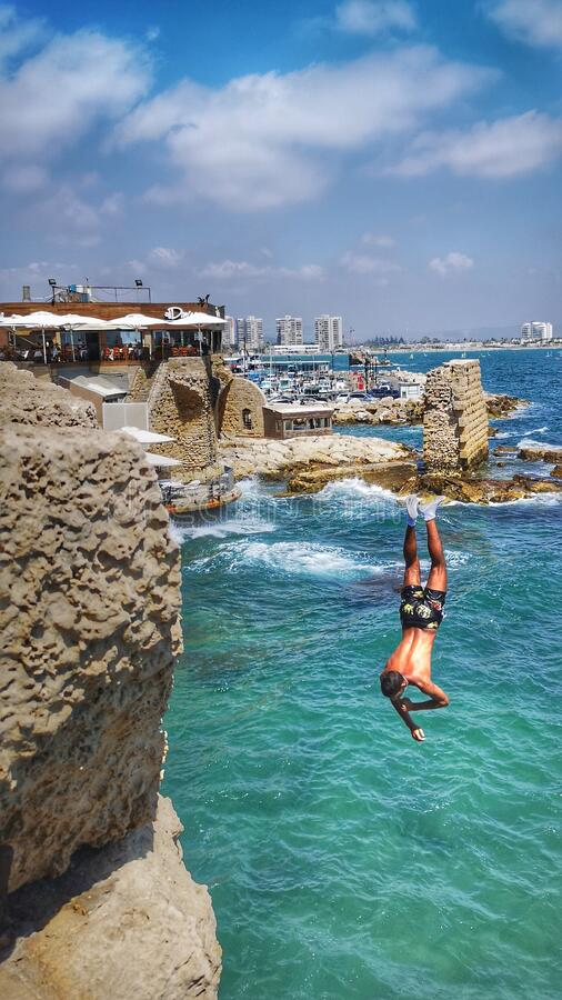 Free Jumping To The Sea Stock Photos - 194275423