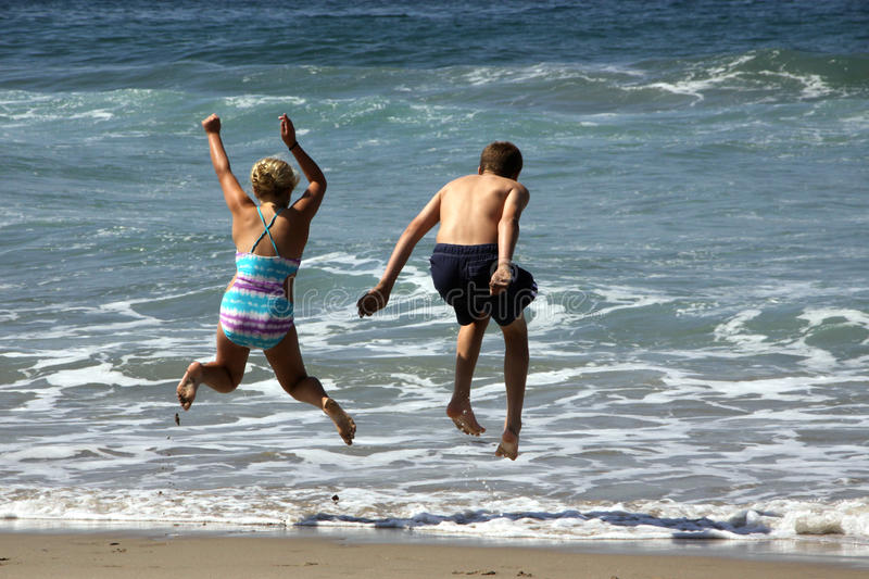 Download Jumping Waves stock image. Image of sand, excercise, children - 11182947