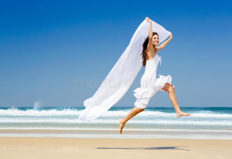 Jumping with a white tissue royalty free stock photos