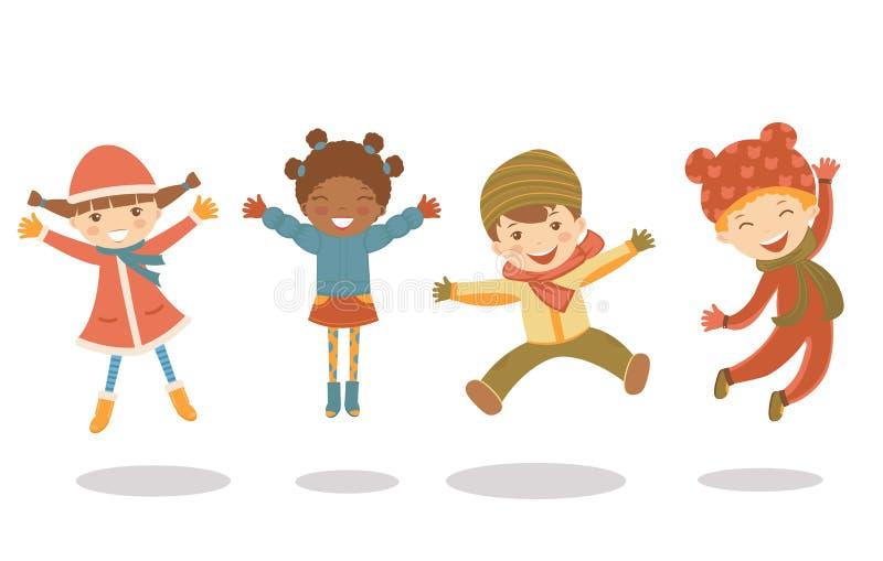 jumping winter kids stock illustration. illustration of female