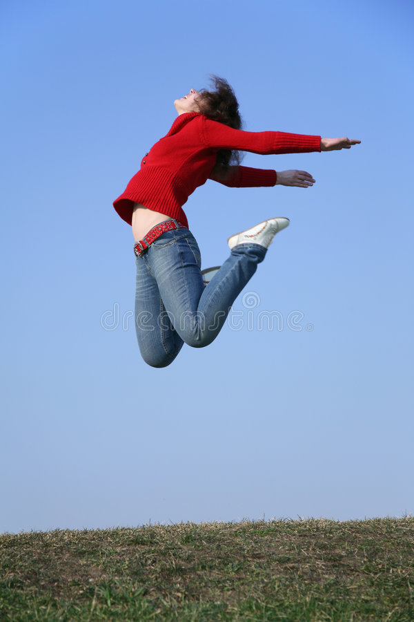 Jumping woman 2 royalty free stock images