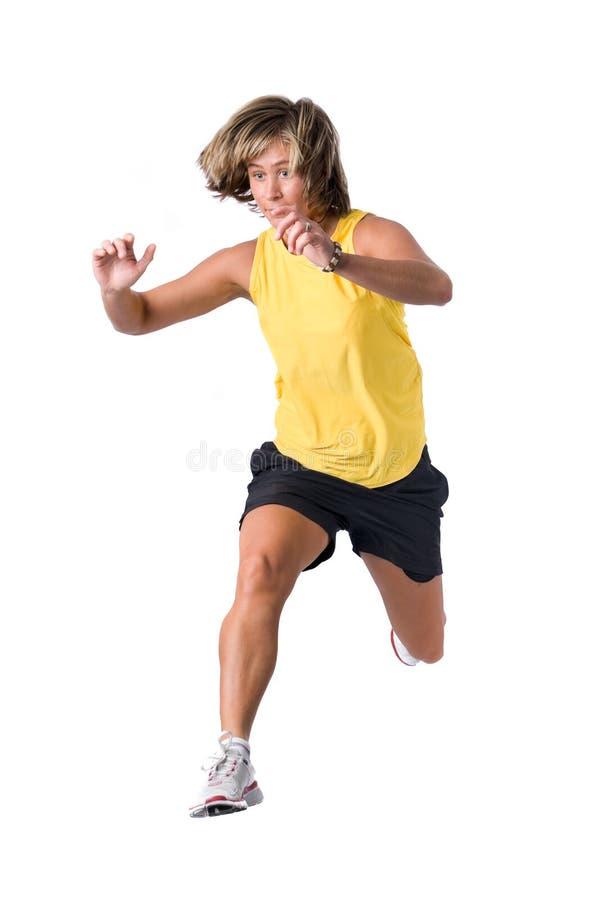 Jumping woman stock image