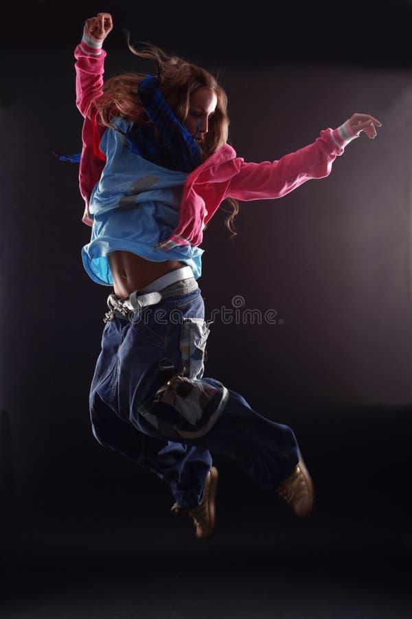 Jumping woman dancer royalty free stock photo