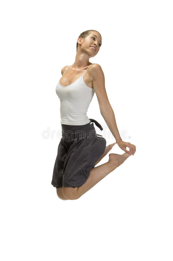 Download Jumping Woman Holding Her Legs Stock Image - Image: 6643637