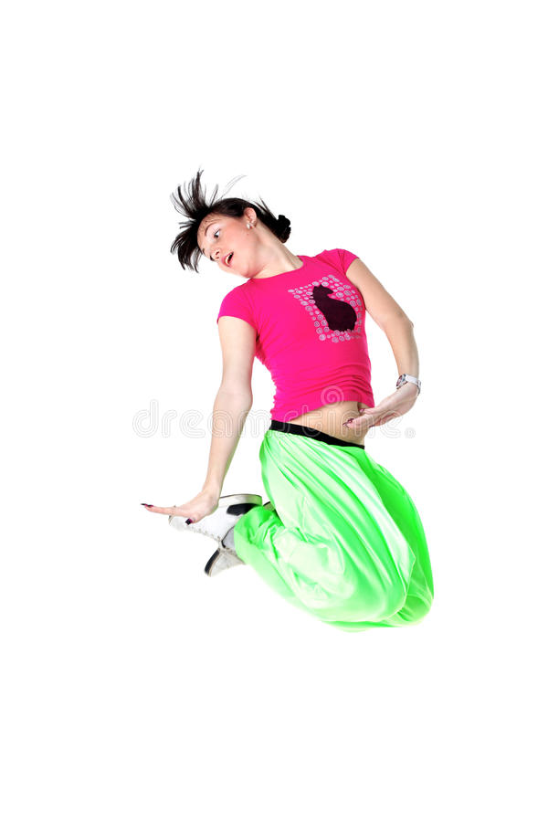Jumping woman modern dancer stock image