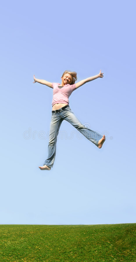 Download Jumping woman outdoor stock image. Image of action, love - 2197189