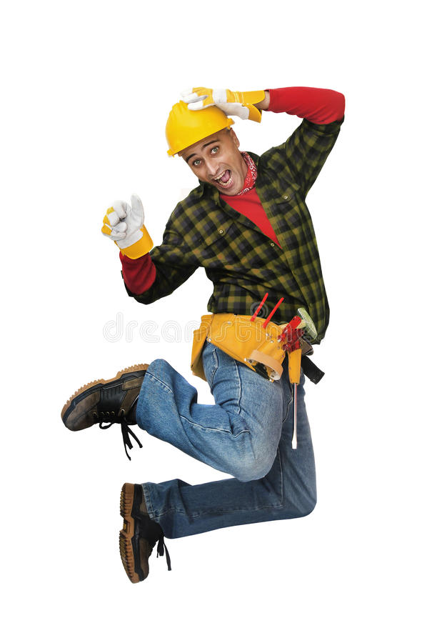 Download Jumping worker stock photo. Image of shirt, construction - 13464466