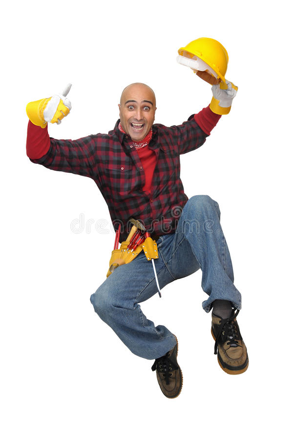 Jumping worker royalty free stock photo