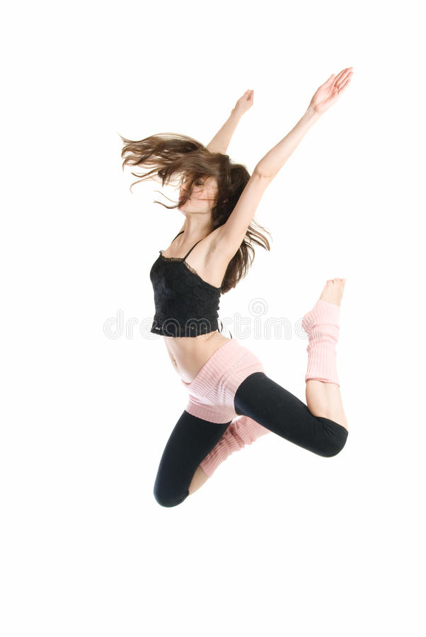 Jumping young dancer royalty free stock photography