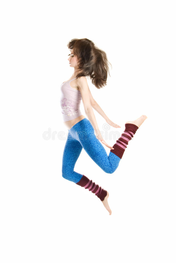 Jumping young dancer royalty free stock image