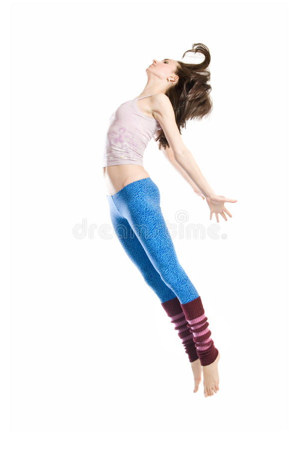 Jumping young dancer stock images