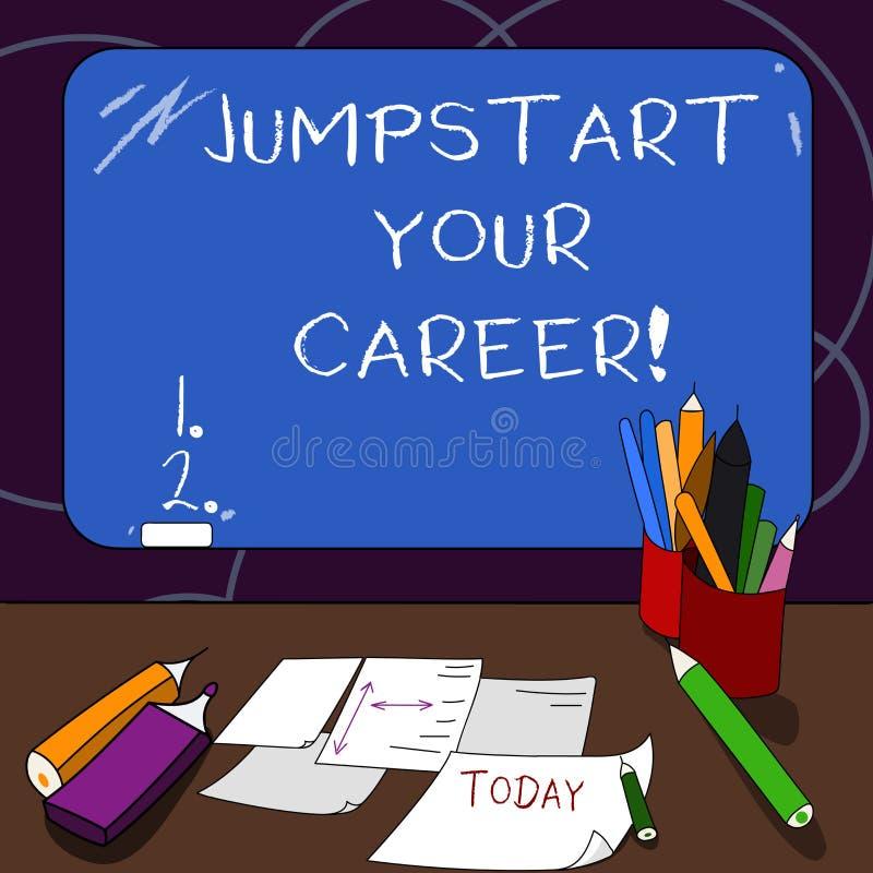 Jumpstart des textes d'écriture votre carrière La signification de concept le font fonctionner avec succès après une période d'éc illustration stock