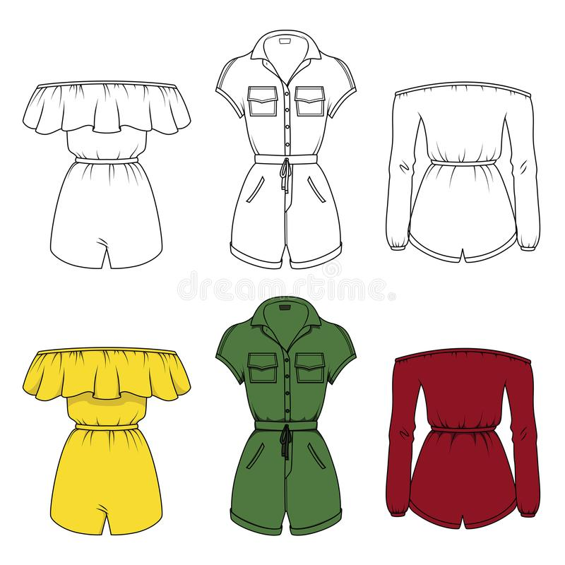Jumpsuits för kvinna` s royaltyfri illustrationer
