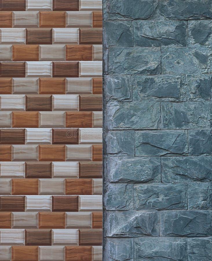 A junção da madeira de imitação da parede pintou telhas e a pedra natural imagens de stock