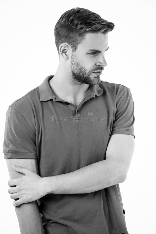 Junção de cotovelo ferida atleta O homem sofre o fundo crônico do branco do cotovelo da dor do traumatismo velho Comprador de ris imagens de stock
