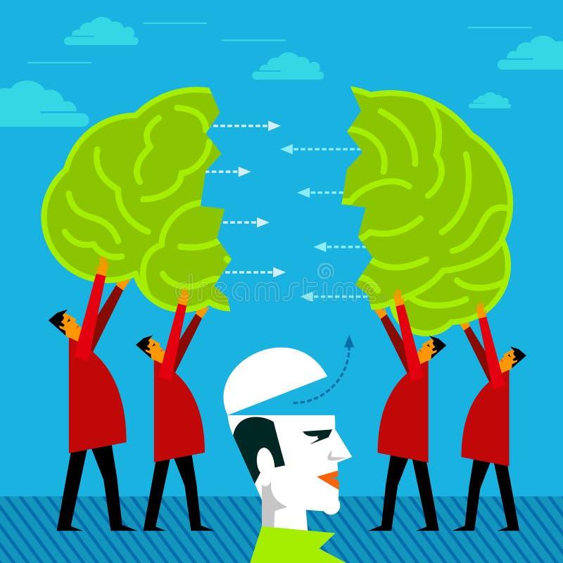 Junção do grupo dos povos um cérebro - conceito da ideia ilustração royalty free