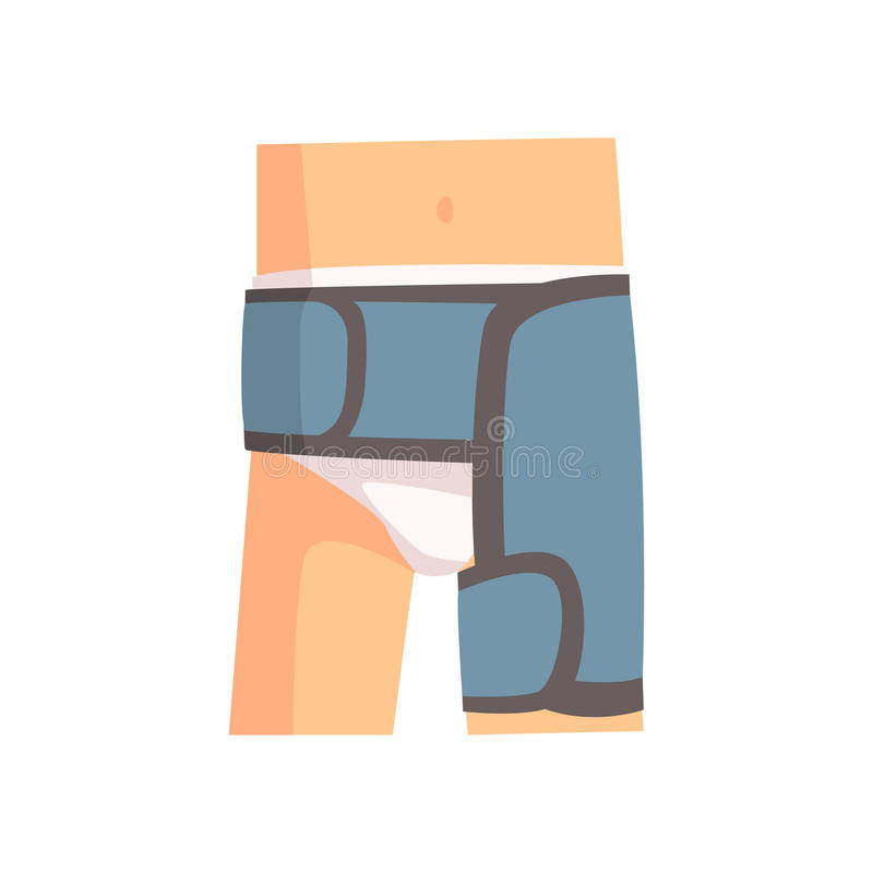 Junção femoral ferida enfaixada com ilustração azul do vetor dos desenhos animados do emplastro ilustração royalty free