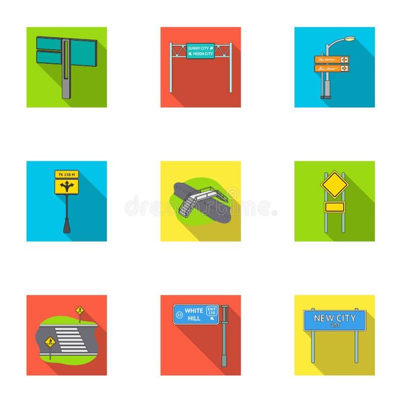 Junções de estrada e sinais e o outro ícone da Web no estilo liso Guias e sinais de ícones do tráfego na coleção do grupo ilustração stock