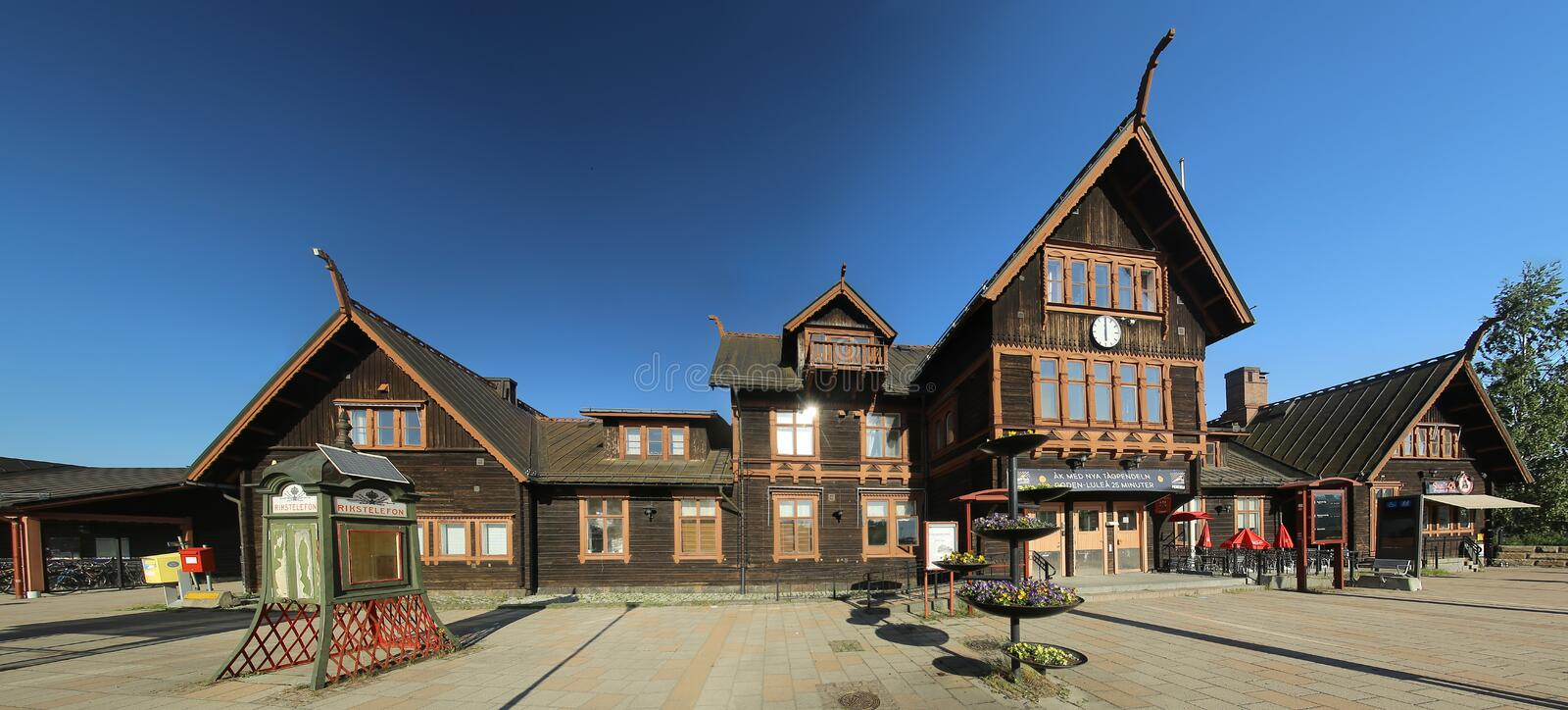 JUN 16 2019 - BODEN, SWEDEN : Front view of Bodens central station, an architectural monument built in 1893.  royalty free stock photography