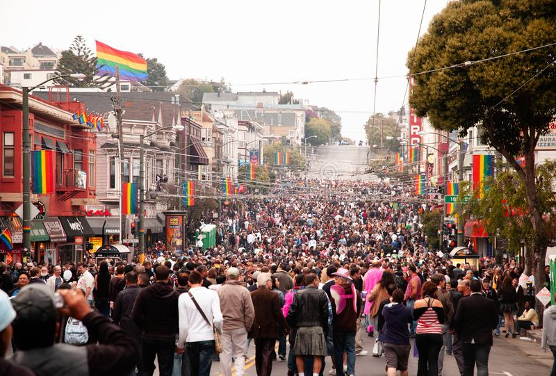 Crowed Castro district during San Francisco gay pride event in J stock image