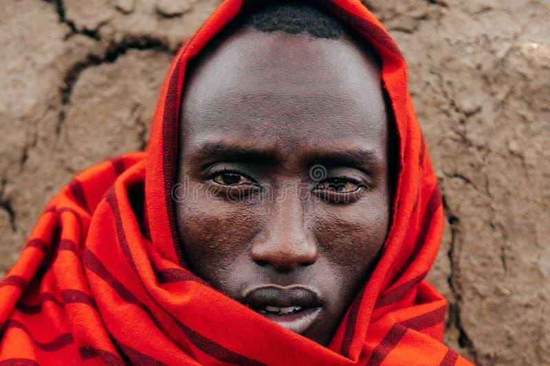 Masai or Maasai tribe man in red cloth portrait eyes staring at camera. Ethnic group of Ngorongoro Consevation, Serengeti in royalty free stock images