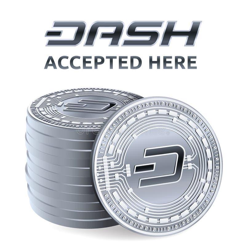junakowanie Akceptujący szyldowy emblemat Crypto waluta Sterta srebne monety z junakowanie symbolem odizolowywającym na białym tl royalty ilustracja