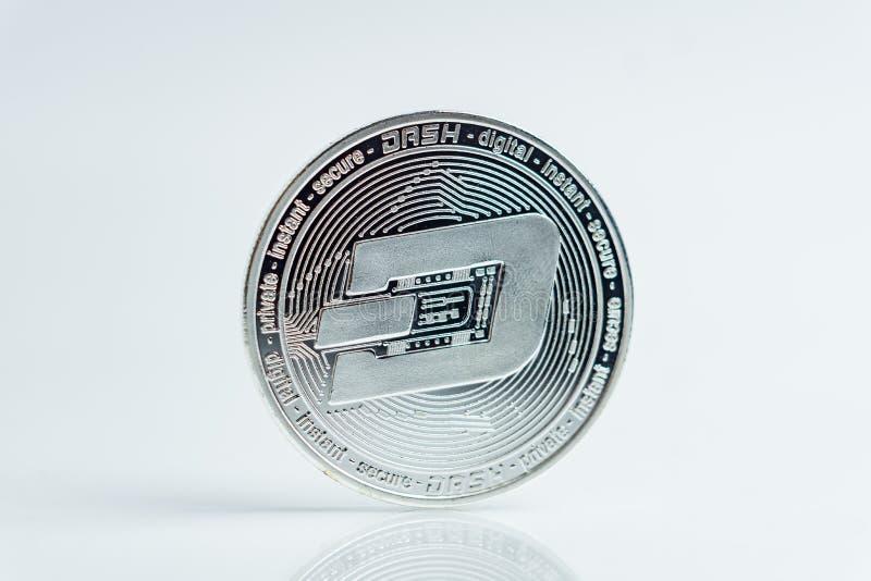 junakowanie Crypto waluty srebna moneta, Makro- strzał odizolowywający na białym tle junakowanie moneta, ciie za Blockchain techn obrazy stock