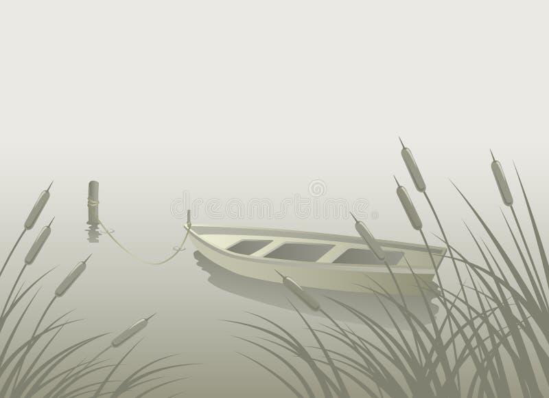 Juncos do barco do lago ilustração stock