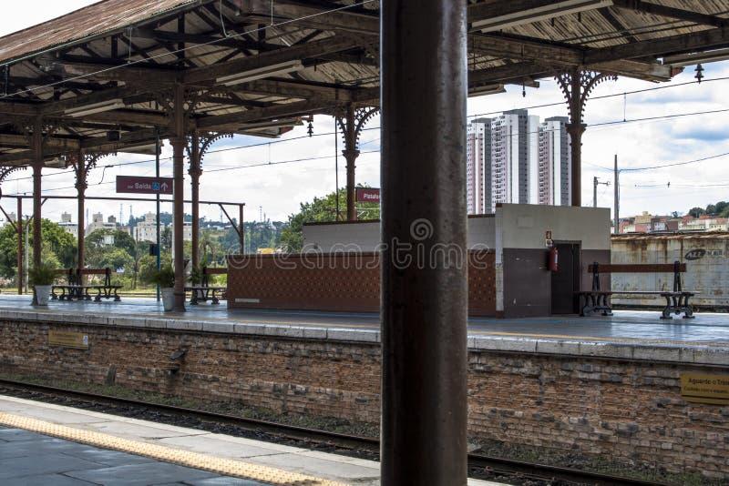 Jundiai Station. Jundiai, Brazil, March 03, 2017. Boarding platform of line 8 Diamond of CPTM, Paulista Company of Metropolitan Trains, at Jundiaí Station stock image