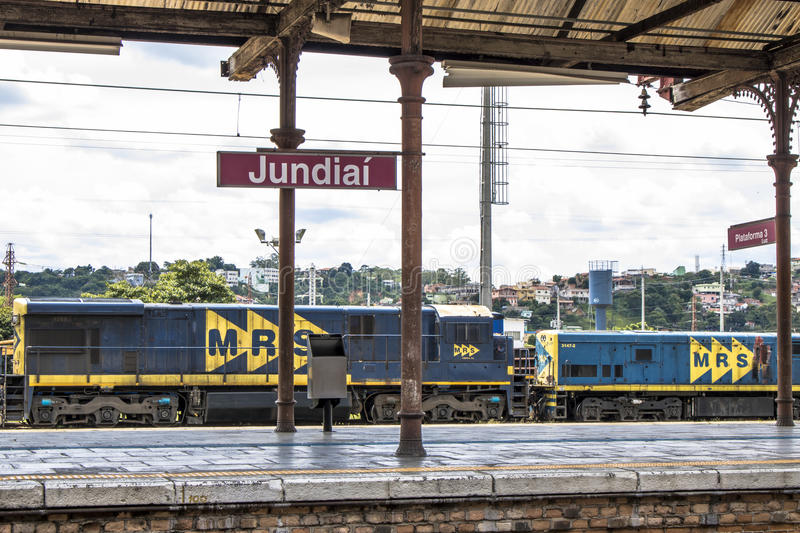 Jundiai Station. Jundiai, Brazil, March 03, 2017. Freight train seen from the boarding platform of Jundiaí Station, SP royalty free stock images