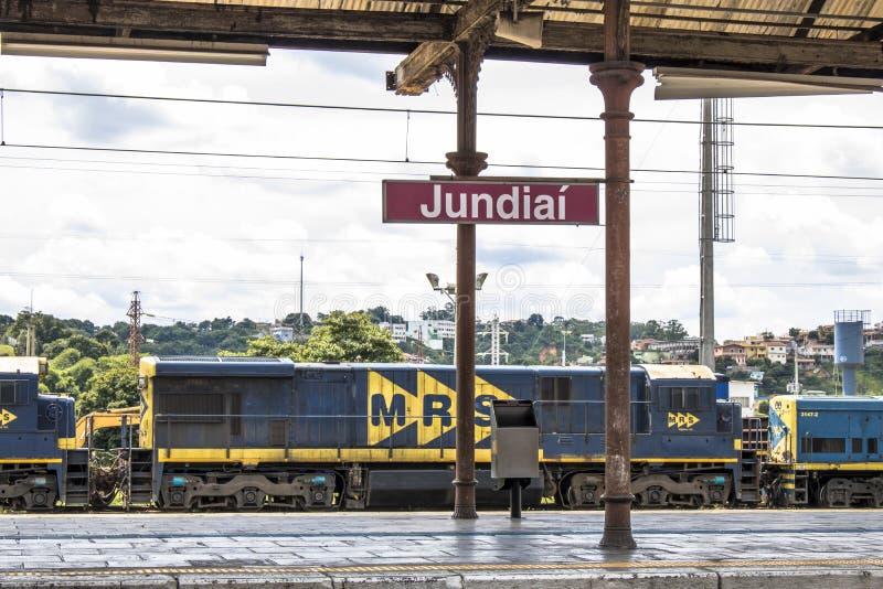 Jundiai Station. Jundiai, Brazil, March 03, 2017. Freight train seen from the boarding platform of Jundiaí Station, SP stock photography
