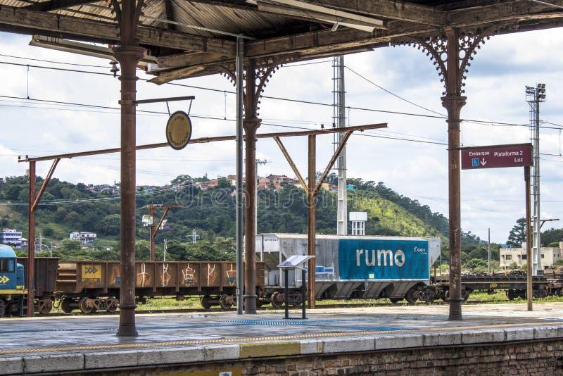 Jundiai Station. Jundiai, Brazil, March 03, 2017. Freight train seen from the boarding platform of Jundiaí Station, SP stock photos