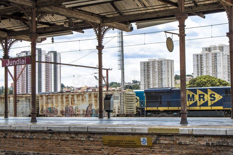 Jundiai Station. Jundiai, Brazil, March 03, 2017. Freight train seen from the boarding platform of Jundiaí Station, SP stock images