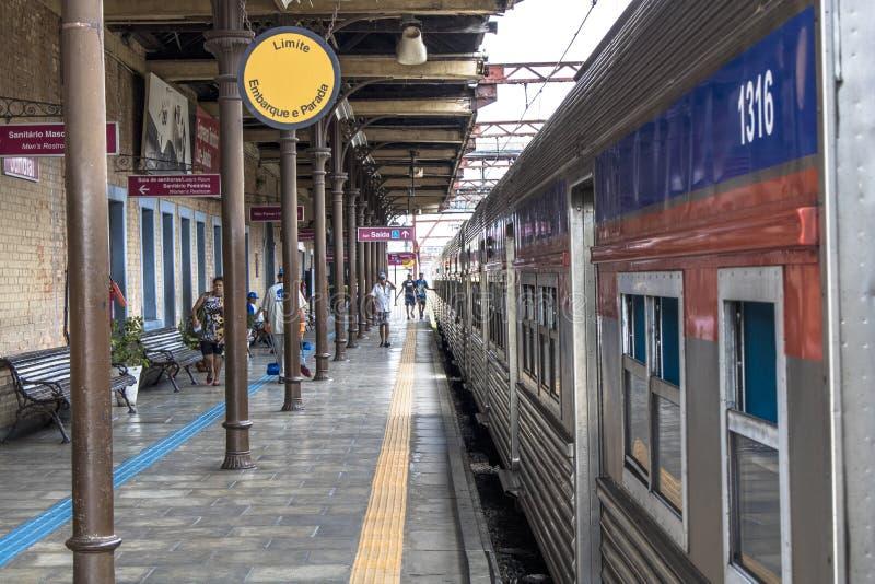 Jundiai train station. Jundiai, Brazil, March 03, 2017. Boarding platform of line 8 Diamond of CPTM, Paulista Company of Metropolitan Trains, at Jundiaí stock photos