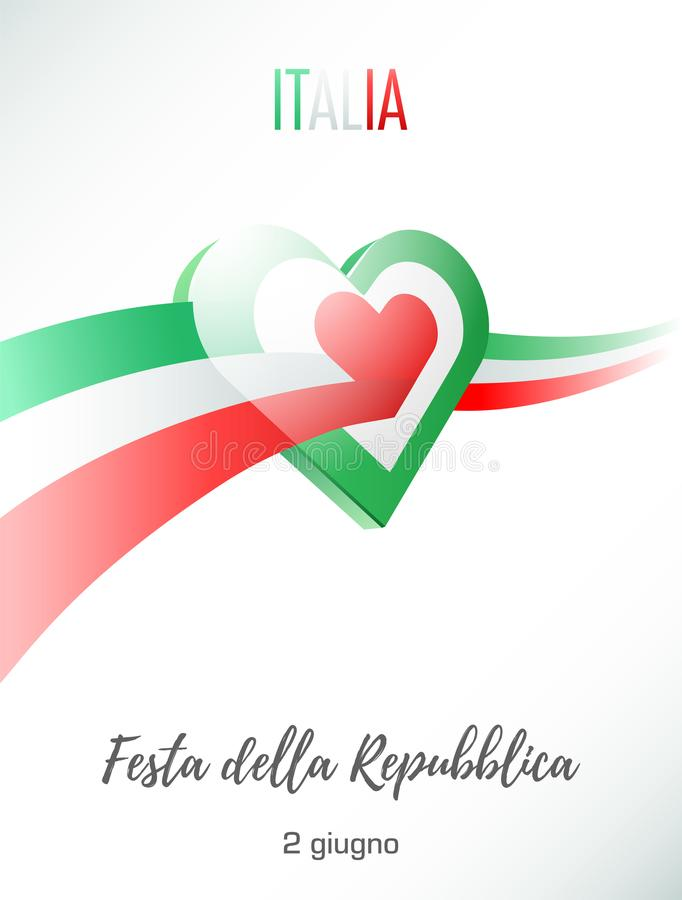 Free June 2. Republic Day Of Italy. Greeting Card With Waving Italian Flag Crosses Heart. Stock Photography - 117680922