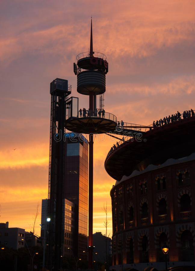 Las Arenas Shopping Centre in Barcelona (Old bullring) at sunset stock images