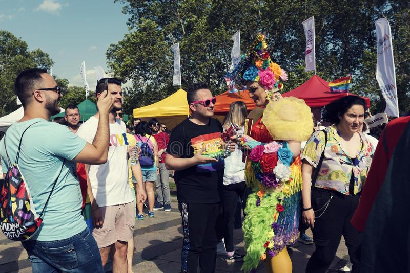 08 June 2019 Bulgaria Many people talking and smiling during the Sofia Pride parade royalty free stock photography