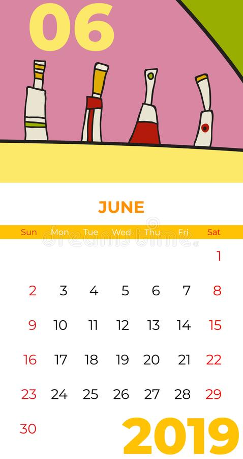 2019 June calendar abstract contemporary art vector. Desk, screen, desktop month 06,2019, colorful 2019 calendar template, agenda. Pattern. Psychedelic sketched royalty free illustration