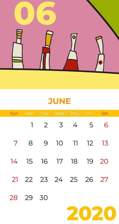 2020 June calendar abstract contemporary art vector. Desk, screen, desktop month 06, 2020, colorful. 2020 calendar template, agenda pattern. Psychedelic vector illustration